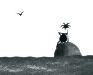 Un home estaba tranquilo nunha illa deserta